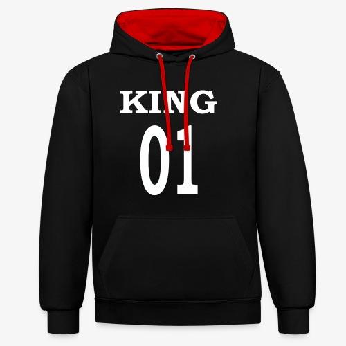 King01white - Kontrast-Hoodie