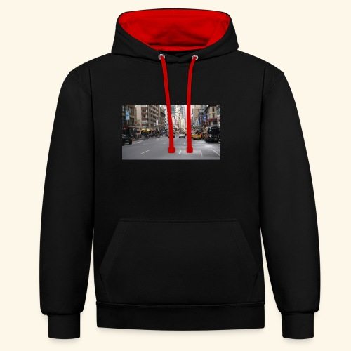 New York Traffic - Kontrast-Hoodie