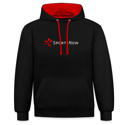 SportsNow-Logo mit weisser Schrift - Kontrast-Hoodie