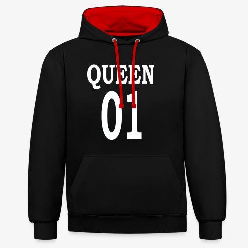 Queen01white - Kontrast-Hoodie