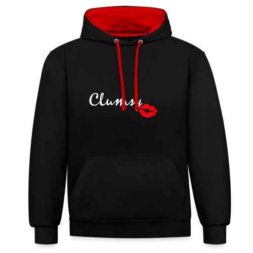 clumsy white - Kontrast-Hoodie