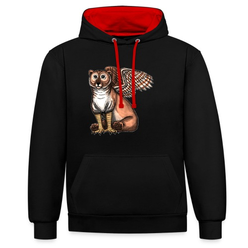 Bear Owl - The Cuter Cousin - Contrast Colour Hoodie