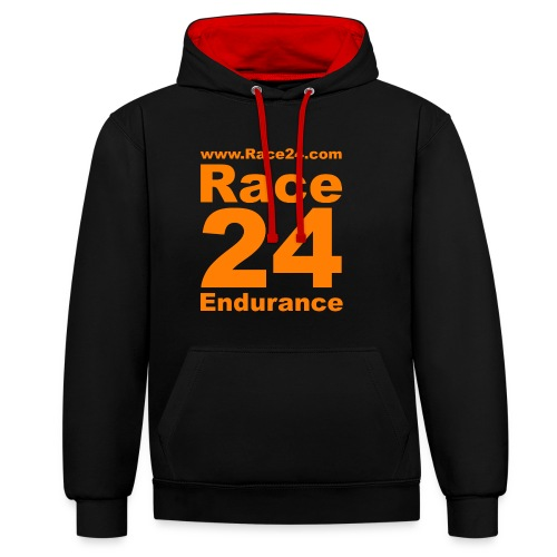 Race24 Logo in Orange - Contrast Colour Hoodie