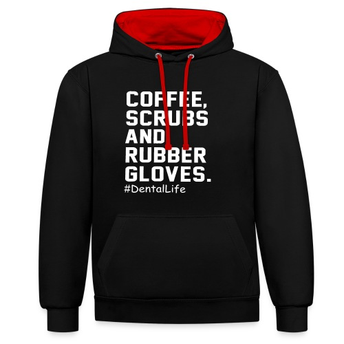 Coffee scrubs and rubber gloves - Contrast Colour Hoodie