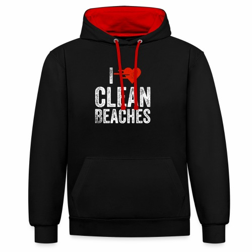 I Love Clean Beaches Shirt Save the Planet Shirt - Kontrast-Hoodie