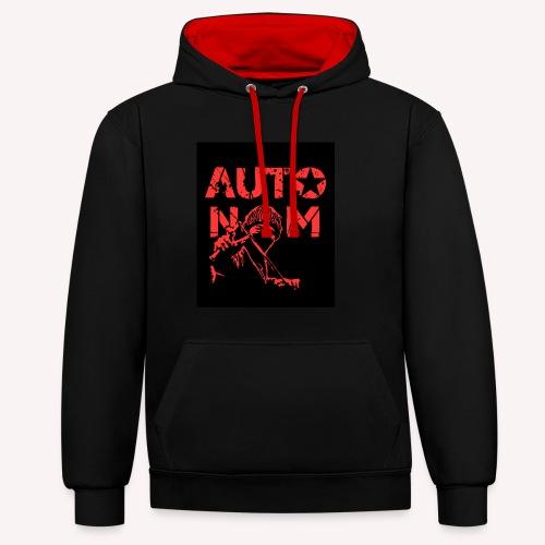 Autonom in ROT - Kontrast-Hoodie