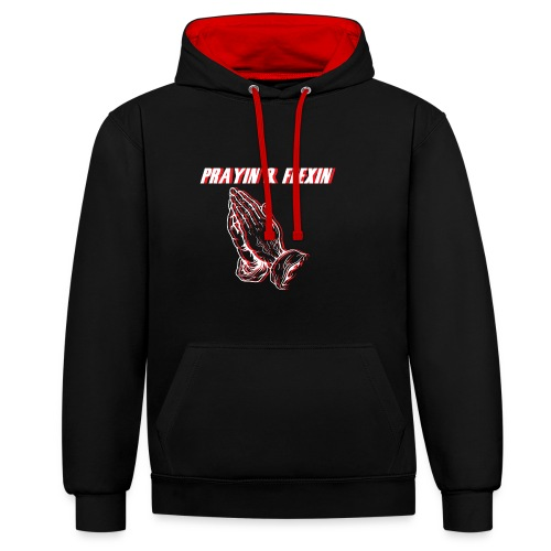 Praying and Flexing - Contrast Colour Hoodie