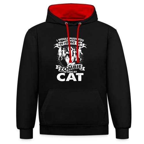 Zombie Cat - Kontrast-Hoodie