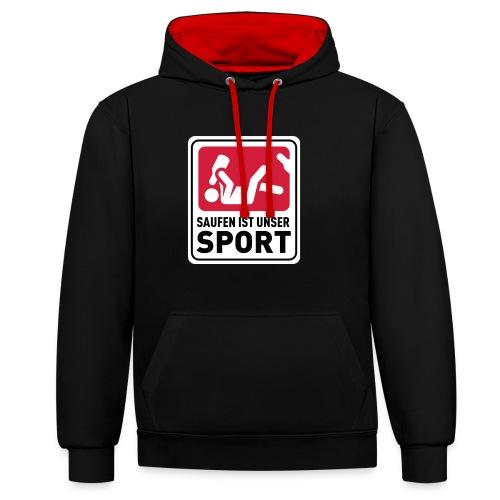 Bundesliga - Saufdesign Saufen ist unser Sport - Kontrast-Hoodie