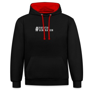 Hashtag generation logo final white - Contrast Colour Hoodie