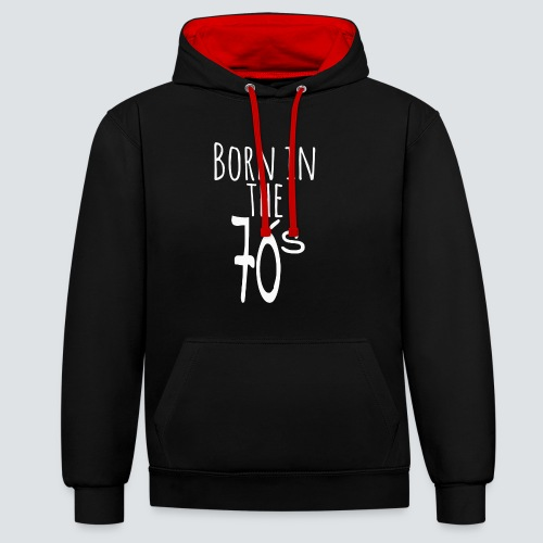 Born in the 70 s weiss - Kontrast-Hoodie