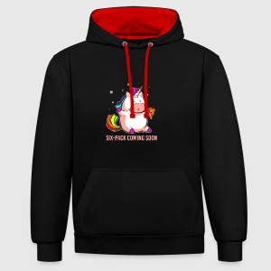 Unicorn Six-pach coming soon funny shirt - Contrast Colour Hoodie
