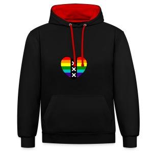 Hart Amsterdam in regenboog kleuren - Contrast hoodie