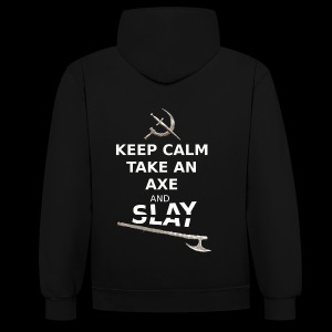 Keep Calm Take an Axe and Slay - Blanc - Sweat-shirt contraste