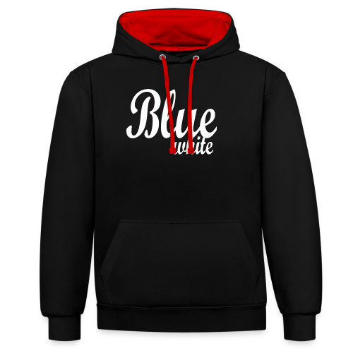 Blue White - Contrast Colour Hoodie