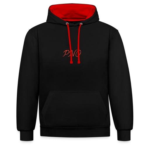 PNO(PlayerNrOne)simbol in rot - Kontrast-Hoodie
