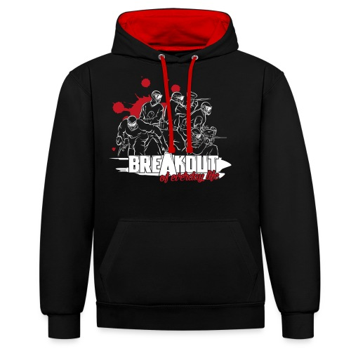 Breakout_weiß_Splash_rot_ - Kontrast-Hoodie