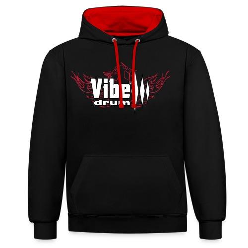 Vibe_Drum_Logo_Flames - Felpa con cappuccio bicromatica