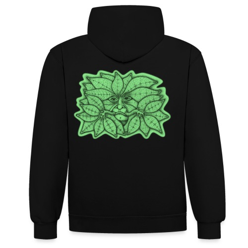 Green Man for Pagan Global Warming/Climate Change - Contrast Colour Hoodie