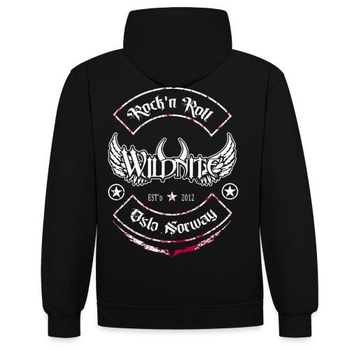 Wildnite 2020 - shirt red black grunge - Kontrast-hettegenser
