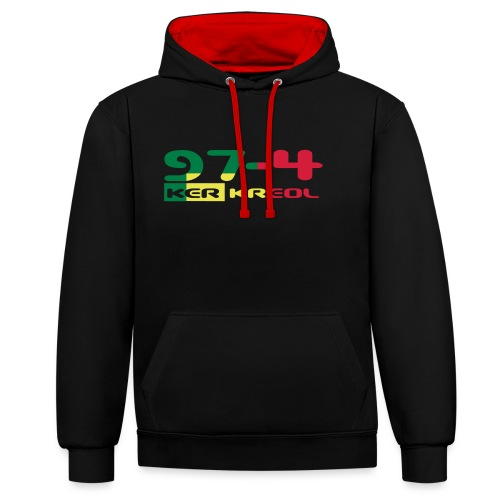 Design 974 ker kreol, rastafari - Sweat-shirt contraste