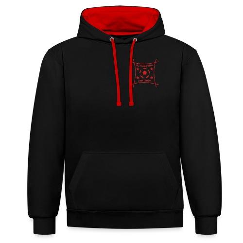 Logo rot / schrift rot - Kontrast-Hoodie