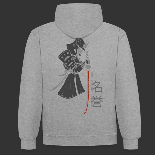 Samurai Digital Print - Contrast Colour Hoodie
