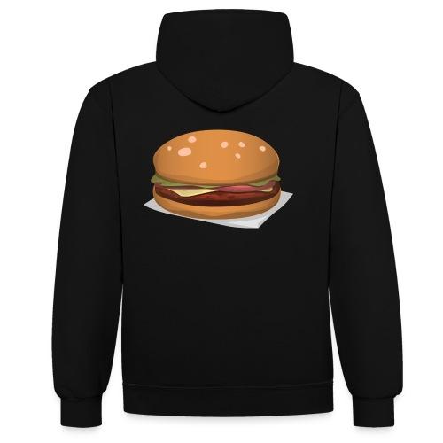 hamburger-576419 - Felpa con cappuccio bicromatica