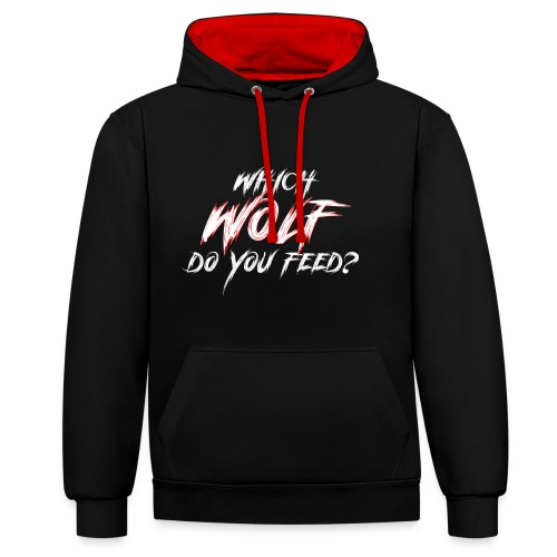 Which Wolf do you Feed Weis - Kontrast-Hoodie