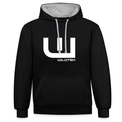 Wildtek Logo White - Contrast Colour Hoodie