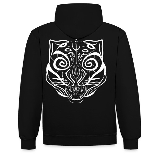 The Parvati Cat by Stringhedelic - White - Contrast Colour Hoodie