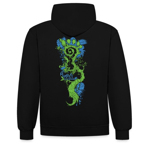 Parvati FootMoss logo in blue & green - Contrast Colour Hoodie