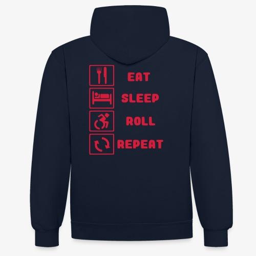 >Eten, slapen, rollen met rolstoel en herhalen 001 - Contrast hoodie