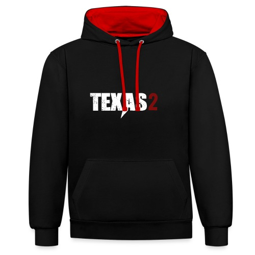 Texas2 White Red - Kontrast-Hoodie