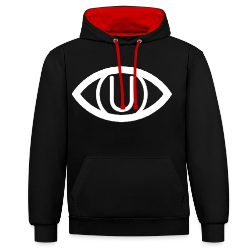 EYE SYMBOL WHITE - Contrast Colour Hoodie