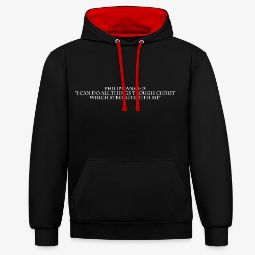 Philippians 4:13 white lettered - Contrast hoodie