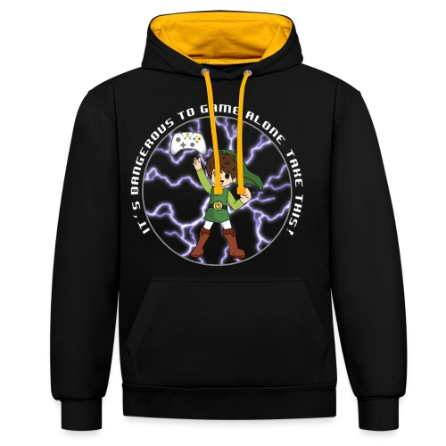 Dangerous To Game Alone - Contrast Colour Hoodie