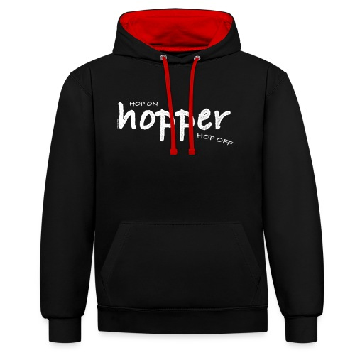 Hoppers Hop On and Off (white) - Sudadera con capucha en contraste