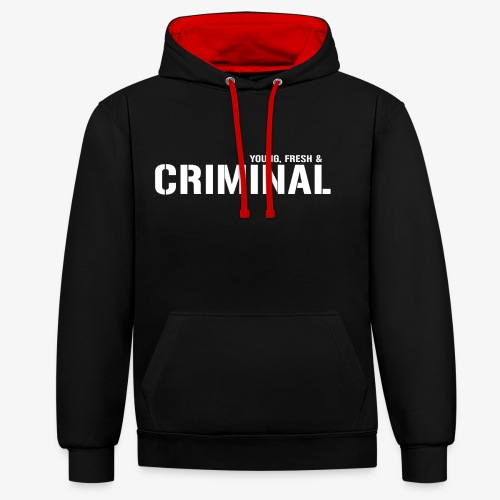 Y F CRIMINAL Logo White - Kontrast-Hoodie