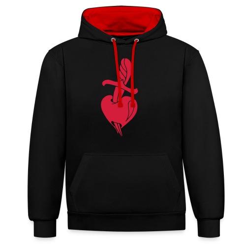 Broken Hearts Love Hate Tattoo Knife blood dagger - Kontrast-Hoodie