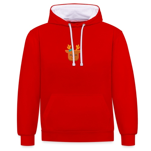 When Deers Smile by EmilyLife® - Contrast Colour Hoodie