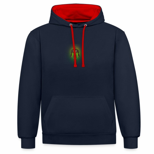 1980's Bigfoot Glow Design - Contrast Colour Hoodie