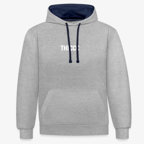 thiccc text logo WHITE - Contrast Colour Hoodie