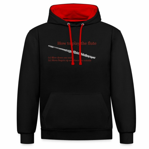 How to play the flute by artist Jon Ball - Contrast Colour Hoodie