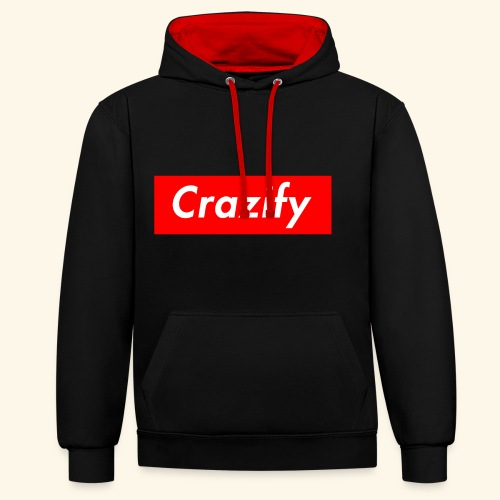 Crazify Red & White - Contrast Colour Hoodie