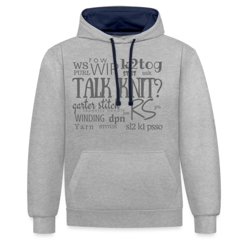 Talk Knit ?, gray - Contrast Colour Hoodie