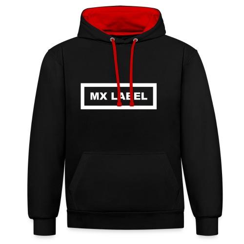 MX Label (White) - Felpa con cappuccio bicromatica