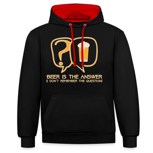 Beer is the answer - Contrast Colour Hoodie
