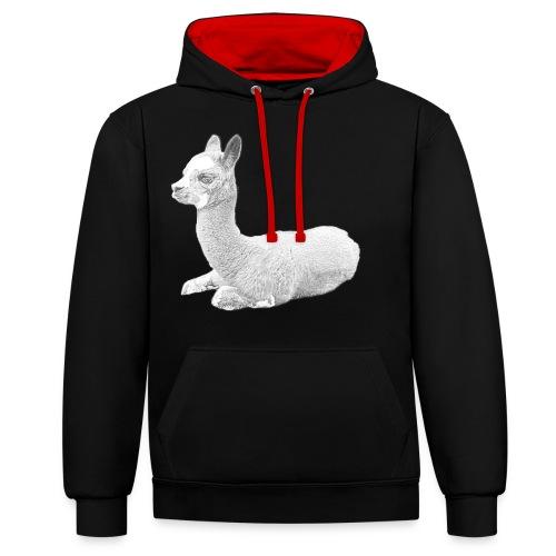 Kleines Alpaka - Kontrast-Hoodie