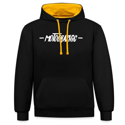 Contrast hoodie - dubbele motographic opdruk